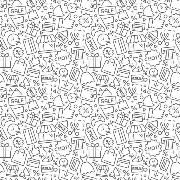 wektor zakupów bez szwu wzór. wektorowy format eps8 - handel detaliczny stock illustrations