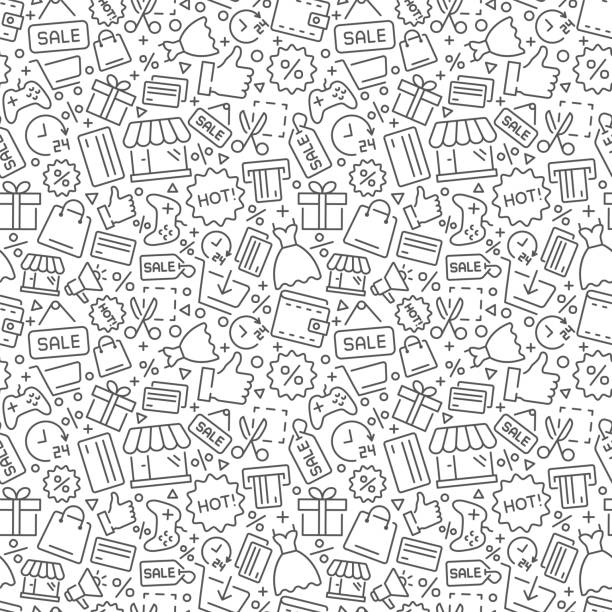 illustrazioni stock, clip art, cartoni animati e icone di tendenza di shopping vector seamless pattern. vector eps8 format - acquisti