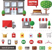 Shopping vector set. Icons set. Isolated objects.