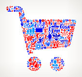 Shopping Vote and Elections USA Patriotic Icon Pattern. This 100% vector composition features red and blue vote and elections icon pattern. The icons vary in size and include such election iconography as voting, candidates, leadership, voting ballots, republican and democratic symbols and people participating in the voting process.