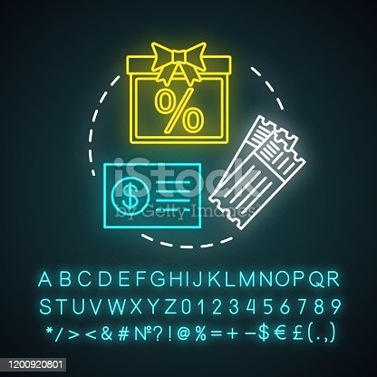 Shopping vouchers concept neon light icon. Referral marketing tools. Smm, social networking. Tickets, money, sales and presents. Glowing sign with alphabet, numbers and symbols. Vector illustration
