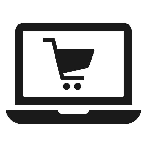 Shopping website flat vector icon Shopping website flat vector icon online shopping stock illustrations