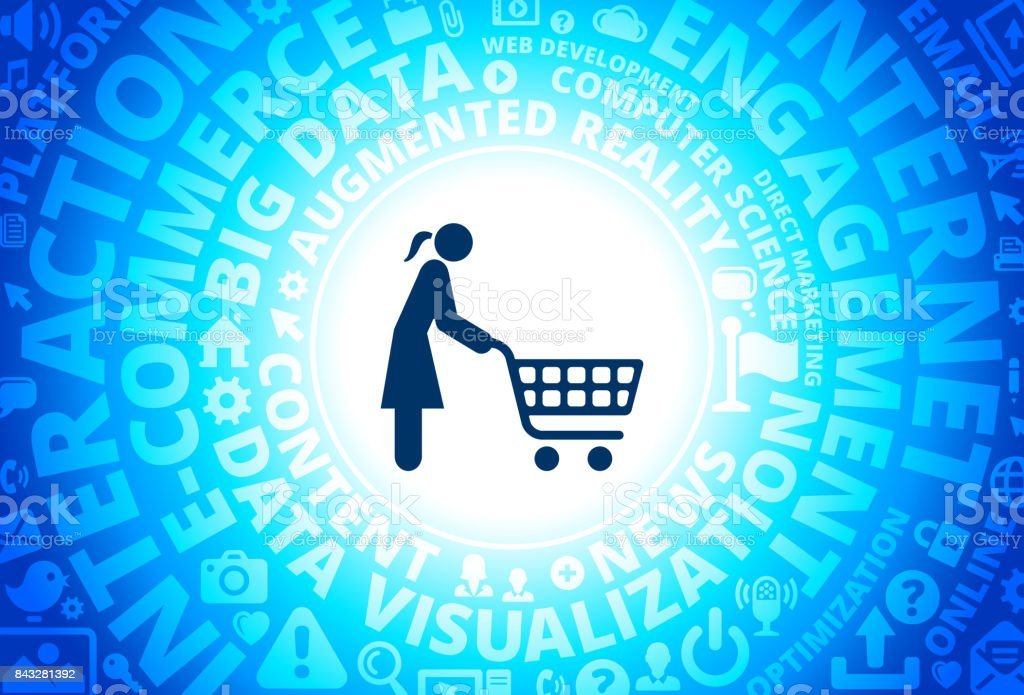 Shopping Woman Icon on Internet Modern Technology Words Background vector art illustration