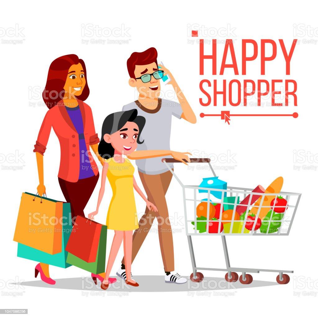 Ilustración De Vector De Mujer De Compras Pareja Feliz
