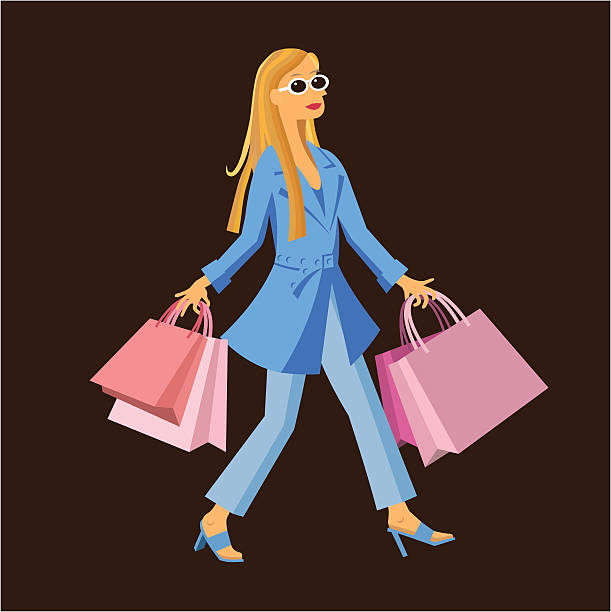 Shopping Woman vector art illustration