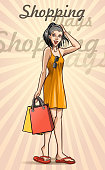 drawing of vector shopping women illustrations.This file was recorded with adobe illustrator cs4 transparent.EPS10 format.