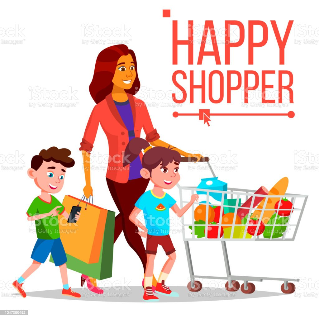 1332bec12878b Shopping Woman Vector. With Children. Purchasing Concept. Happy Shopper.  Smiling Girl.