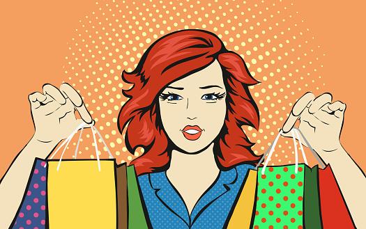 Vetores de Shopping Mulher Com Uma Sacola De Venda Descontos Pop Art Retro  e mais imagens de Adolescente - iStock