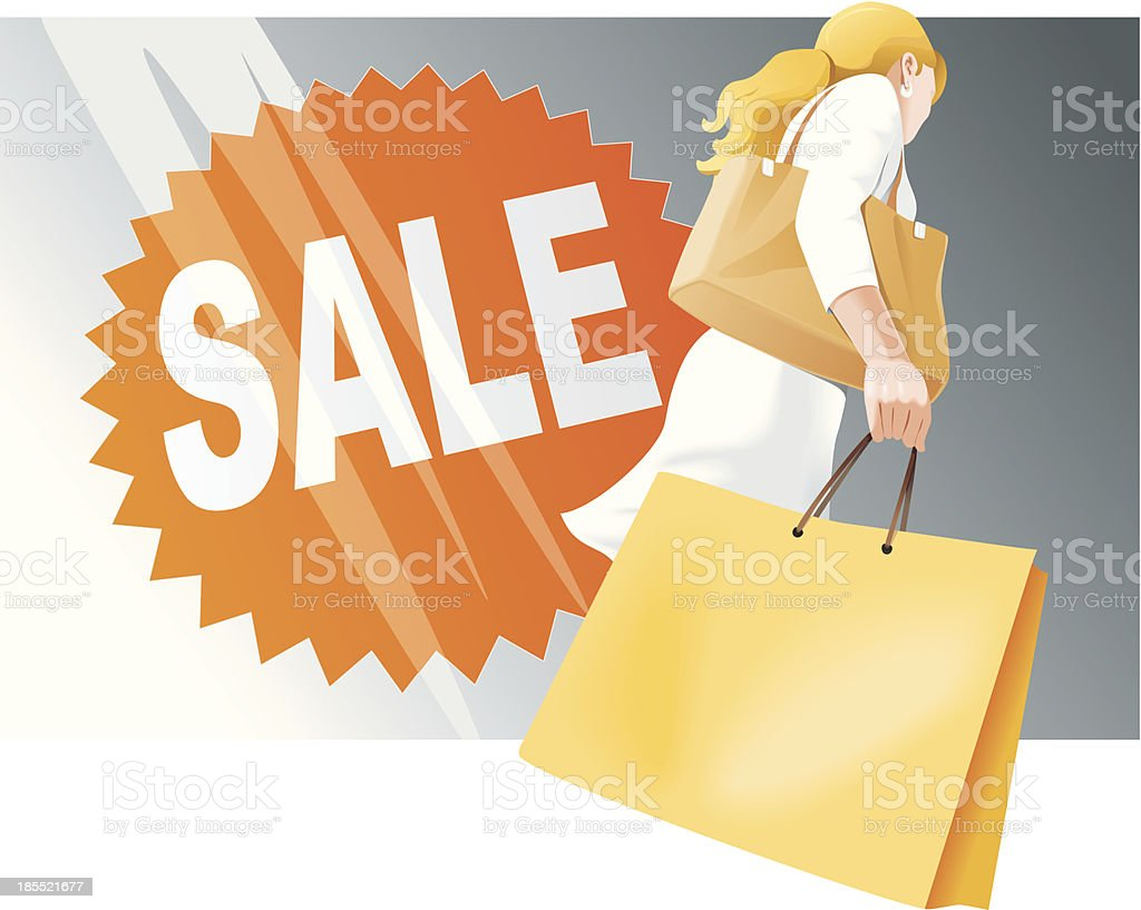Shopping woman with bags, Sale royalty-free shopping woman with bags sale stock vector art & more images of adult