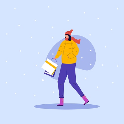 Shopping woman with shop bags on winter holidays. Sale offer, joyful girl. Adult walking and buying, isolated shopper. vector