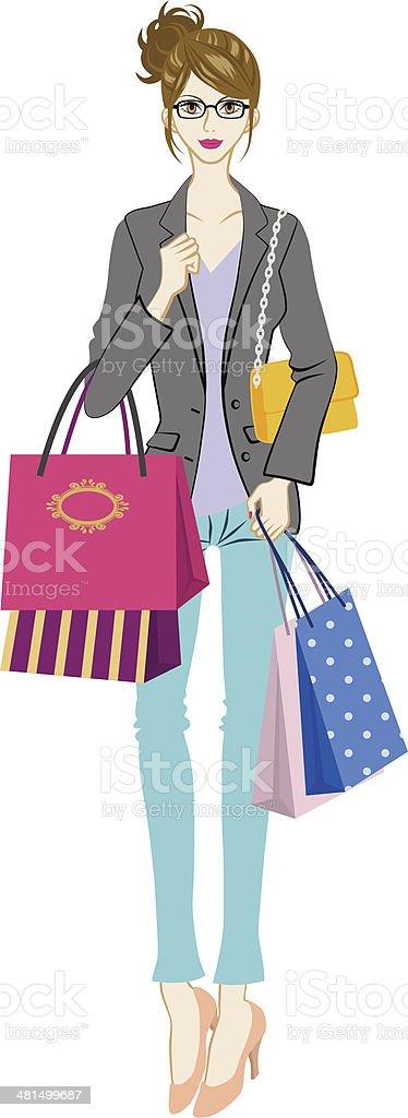 Shopping women, who wearing glasses vector art illustration