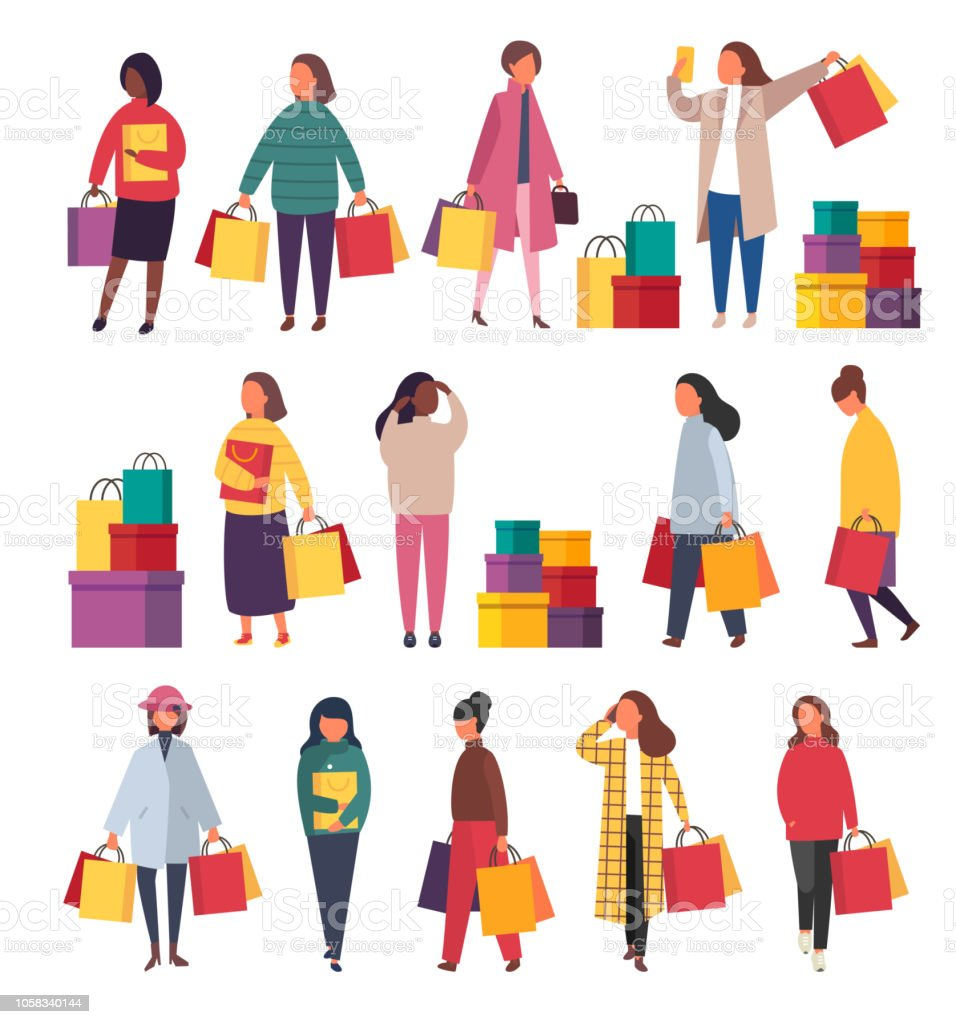f4557ff1b Shopping women with bags. Vector sale illustration royalty-free shopping  women with bags vector