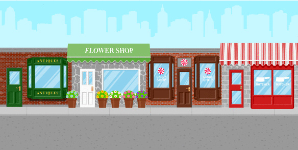 Shops along a city street
