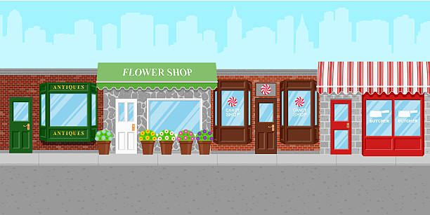 stockillustraties, clipart, cartoons en iconen met shops along a city street - stoep