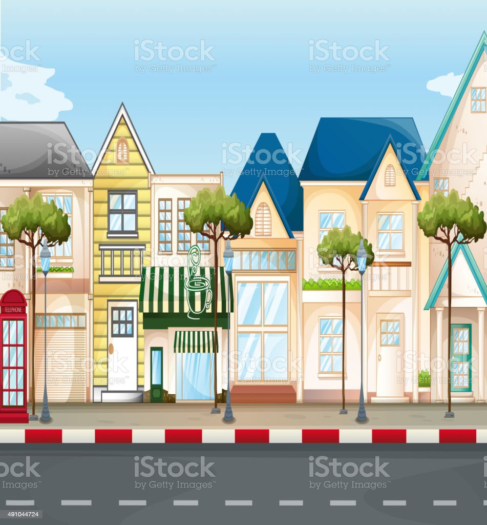 Shops and stores along  street vector art illustration