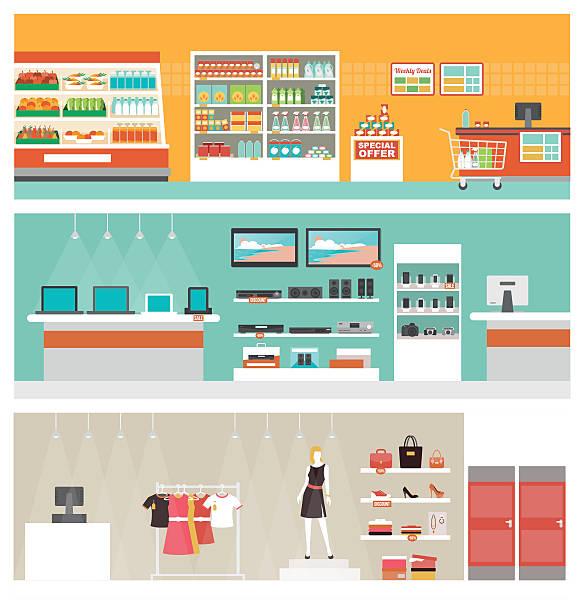 ilustrações de stock, clip art, desenhos animados e ícones de lojas e guarda conjunto de banner - prateleira compras