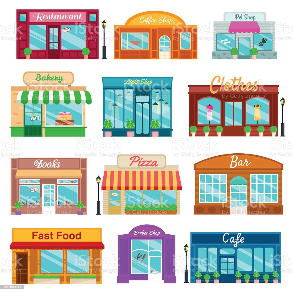 Shops and stores front icons set flat style. Vector illustration vector art illustration