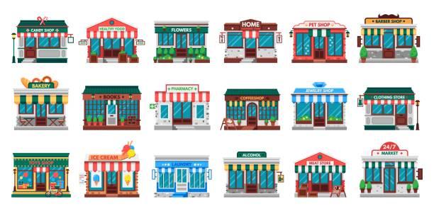 geschäfte fassaden. wäschereigebäude, baumarktfassade und apotheken-flachvektorset - restaurant stock-grafiken, -clipart, -cartoons und -symbole