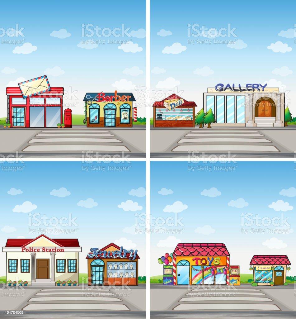 shops vector art illustration