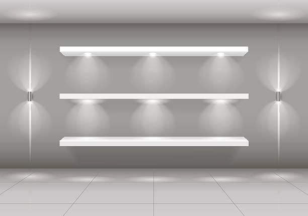 shop-window shelf for goods - lampenshop stock-grafiken, -clipart, -cartoons und -symbole