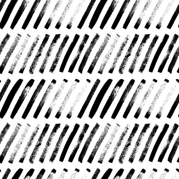 Short diagonal lines hand drawn seamless pattern. Vector ornament for wrapping paper. Short diagonal lines hand drawn seamless pattern. Grunge ink brush texture. Black paint dry brushstrokes. Freehand textured drawing. Abstract background design. Textile, wrapping paper vector fill. hyphen stock illustrations