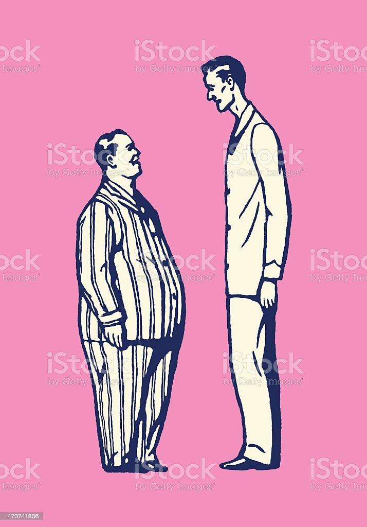 Short Fat Man and Tall Thin Man vector art illustration