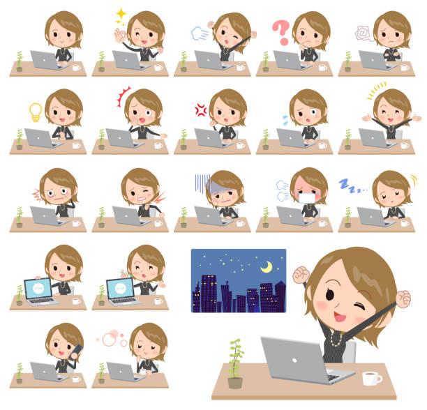 短い髪黒の高いハイネック women_desk 作業 - 大学生 パソコン 日本点のイラスト素材/クリップアート素材/マンガ素材/アイコン素材