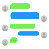 Short message service bubbles with place for text chat text boxes. Empty messaging bubles. Eps10.