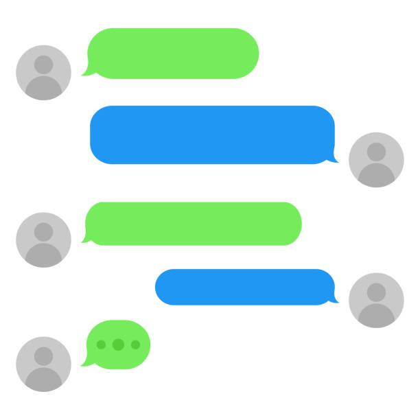 kurznachrichtendienst bläschelt mit platz für text-chat-textboxen leere messaging-blasen. - blase physikalischer zustand stock-grafiken, -clipart, -cartoons und -symbole