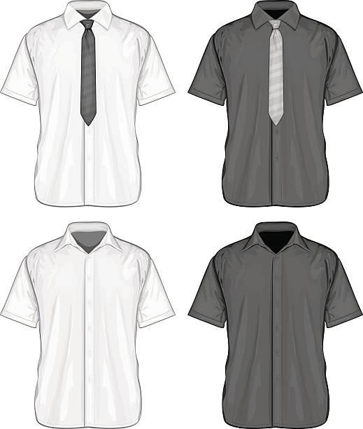 stockillustraties, clipart, cartoons en iconen met short sleeve dress shirts - korte mouwen