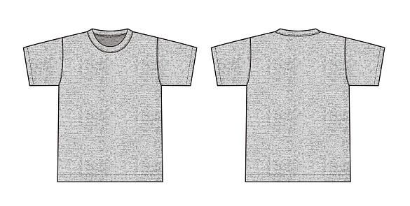 Short sleeve t-shirt illustration (heather gray) /front,back