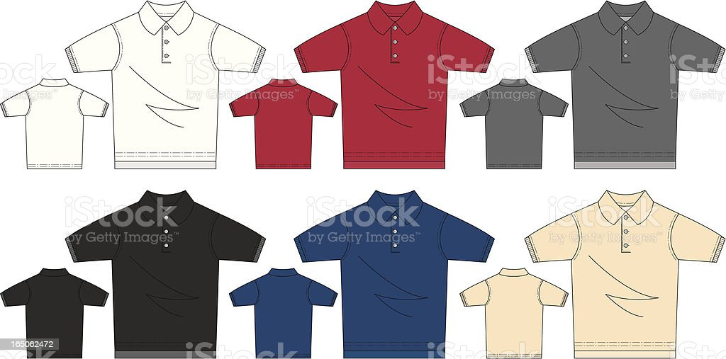 Short Sleeved Polo Pique Shirt royalty-free short sleeved polo pique shirt stock vector art & more images of adult