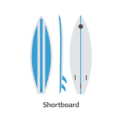 Shortboard Surfing Desk Vector Illustration