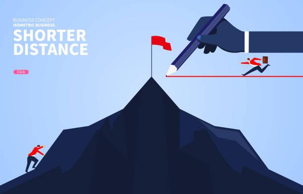 Shortcut, schnellerer Geschäftsmann zum Erfolg – Vektorgrafik