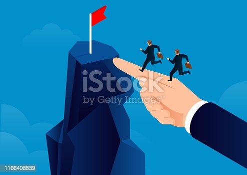 istock A shortcut to success, a huge hand helps the businessman reach the end 1166408839