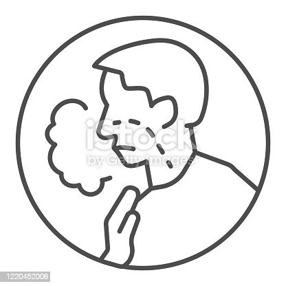 Shortness of breath thin line icon. Difficulty breathing, dyspnea and covid-19 outline style pictogram on white background. Coronavirus sign for mobile concept and web design. Vector graphics