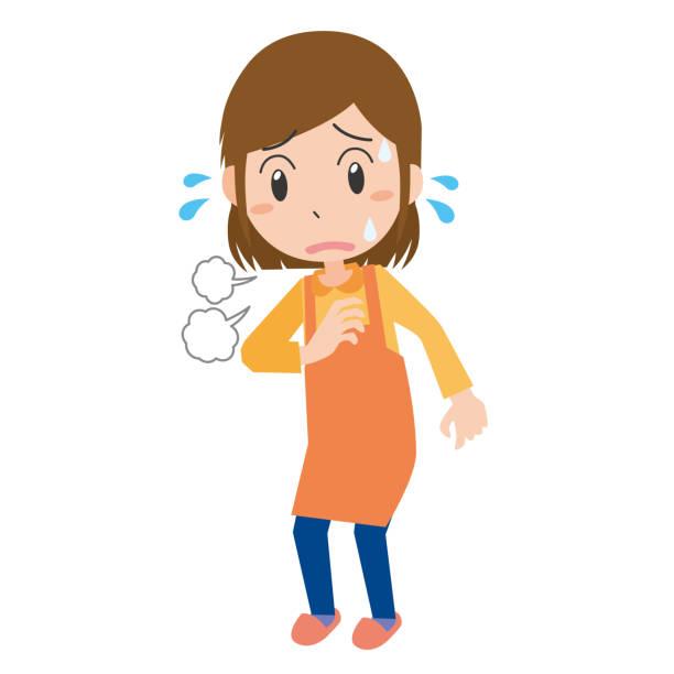 ilustrações de stock, clip art, desenhos animados e ícones de shortness of breath woman - mão no peito