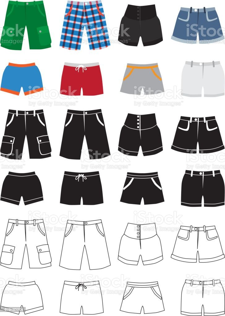 Shorts fashion icons vector art illustration