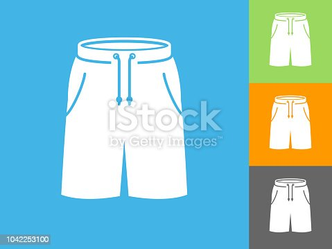 Shorts Flat Icon on Blue Background. The icon is depicted on Blue Background. There are three more background color variations included in this file. The icon is rendered in white color and the background is blue.