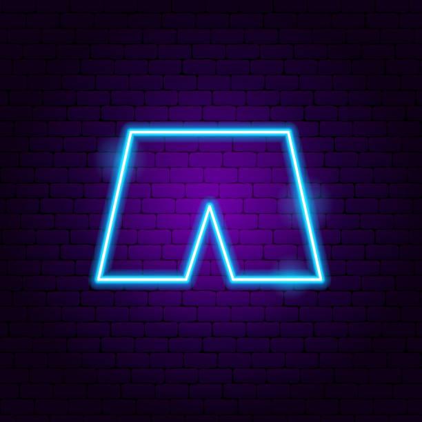 shorts neon zeichen - neonhosen stock-grafiken, -clipart, -cartoons und -symbole
