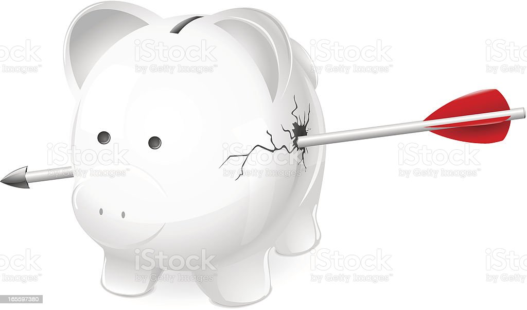 Shot and damaged piggy bank. Financial ruin  or debt concept. royalty-free shot and damaged piggy bank financial ruin or debt concept stock vector art & more images of aiming