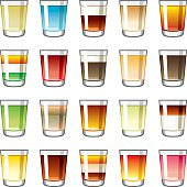 A set of 20 different shot glass icons isolated on white. Shot flavors range from fruity red berry flavours to coffee/cappuchino to pale liquor shots.