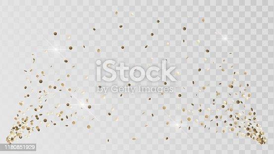Shot of golden confetti crackers on a transparent background, celebration and celebration, gold decoration