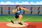 Shot putter in a shot put competition