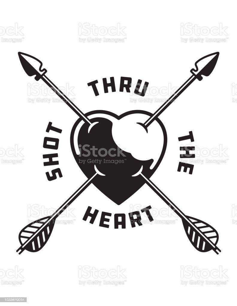Shot Through The Heart love symbol illustration. vector art illustration