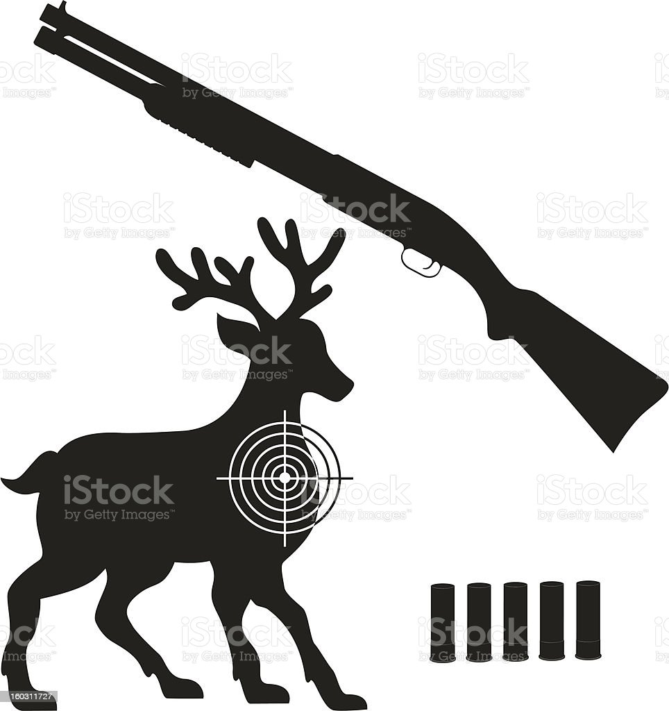 shotgun and aim on a deer black silhouette vector illustration vector art illustration