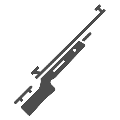 Shotgun for biathlon solid icon, Winter sport concept, firearm sign on white background, Rifle shoot icon in glyph style for mobile concept and web design. Vector graphics.