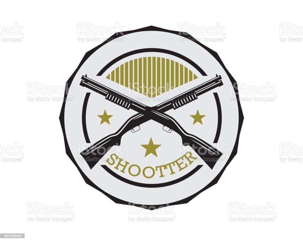 shotgun retro badge vector art illustration