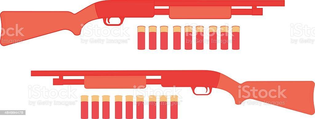 Shotgun with bullets. Game resources vector art illustration