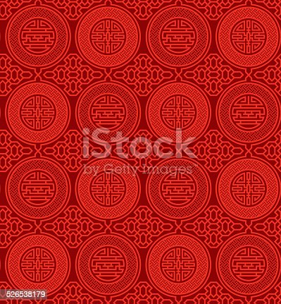 Seamless, oriental pattern with Chinese symbols shou and cai in bright red on a darker red background; representing longevity (shòu 寿), and wealth (cái 財).